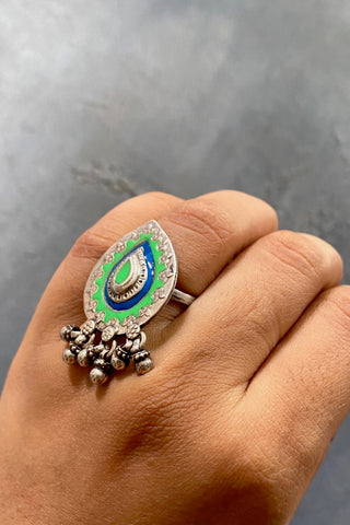 Enamel Drop Ring - 925 Silver