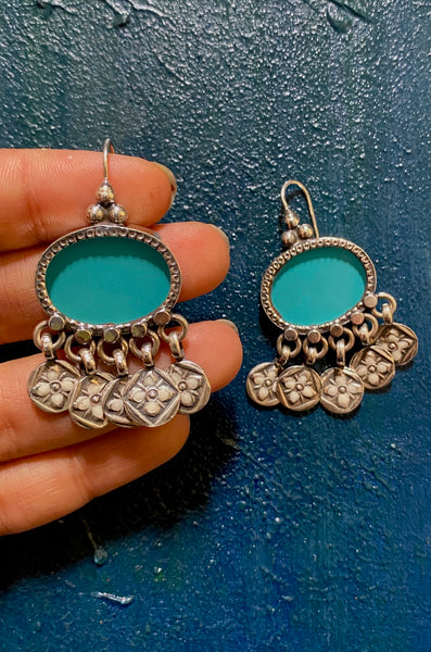 Turquoise Oval with Fun Blue Enamel Charms