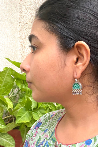 Pretty in Glass earring with Cz's - 925 Silver