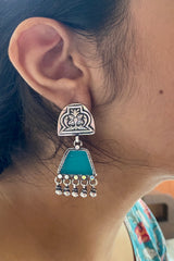 Motif Stud with Turquoise Rhombus at bottom