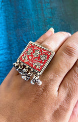 Stamped Enamel Ring - 925 SIlver