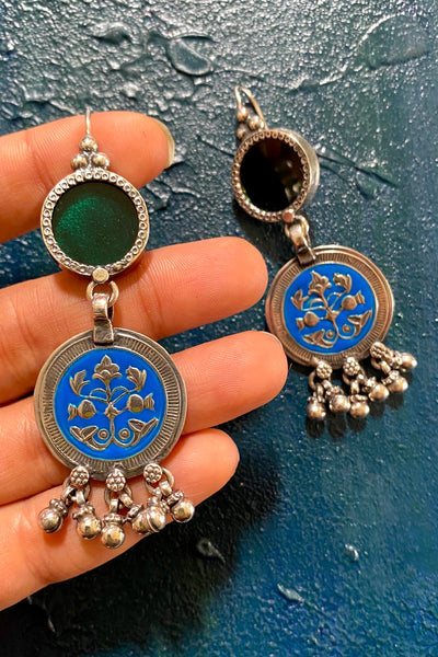 Green Circle with Blue Enamel Floral Motif