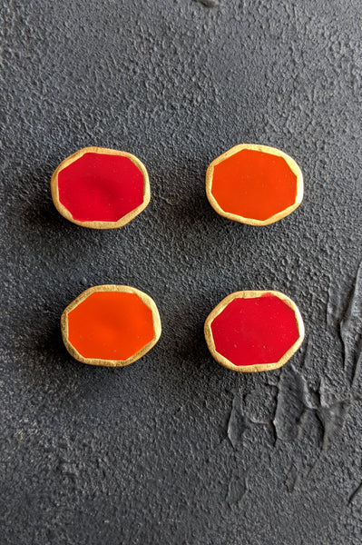 Organic shaped disks 2 Red 2 Orange