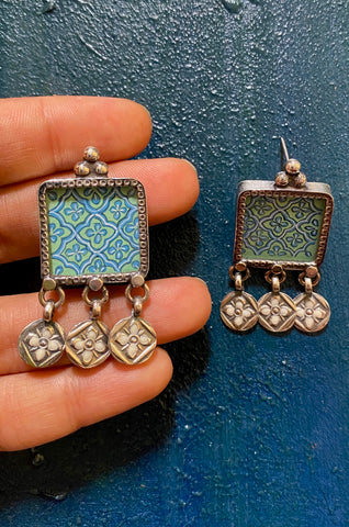 Blue Hand Painted Square with Charms