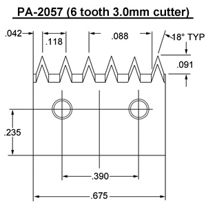 PA- 2057 (6 tooth 3.0mm) Blade