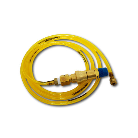 Yellow P.A.T.T.I.® to bottled/shop air hose - 6 foot with Swag