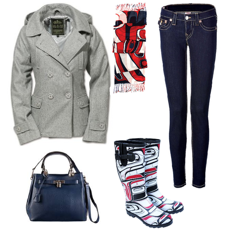 Jeans, boots, purse, scarf and jacket