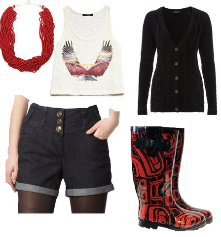 Shorts, boots, necklace, t-shirt, sweter
