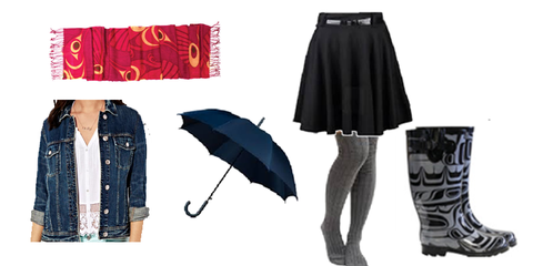 Skirt, boots, scarf, jean jacket, umbrella