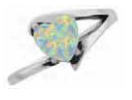 Ladies Stainless Steel White Lab Opal Ring