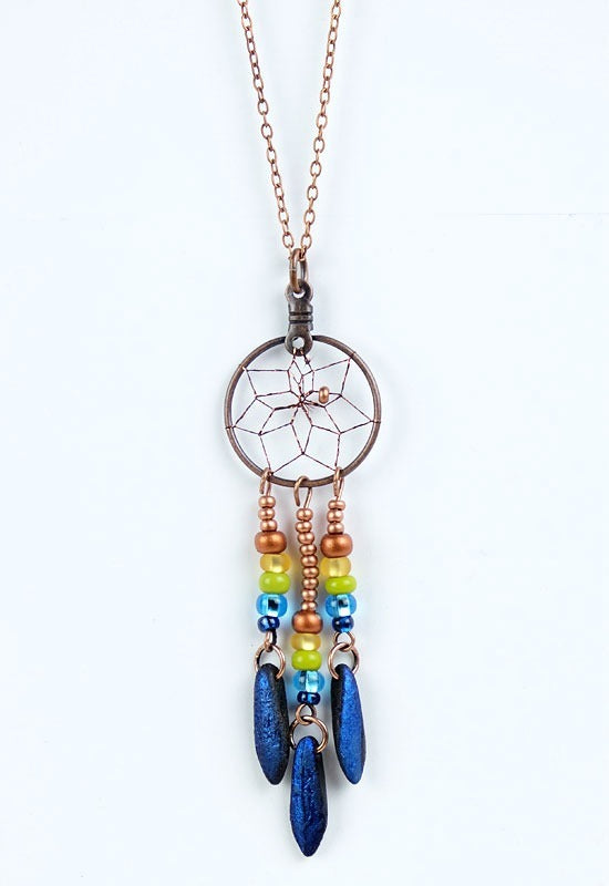 Dream Catcher Necklace - Blue