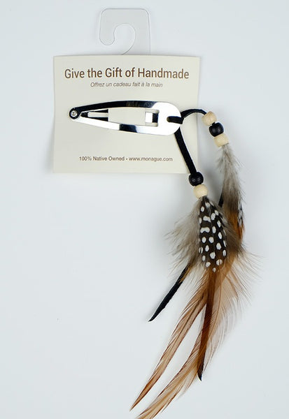 Hair Barrette - Black with Beads