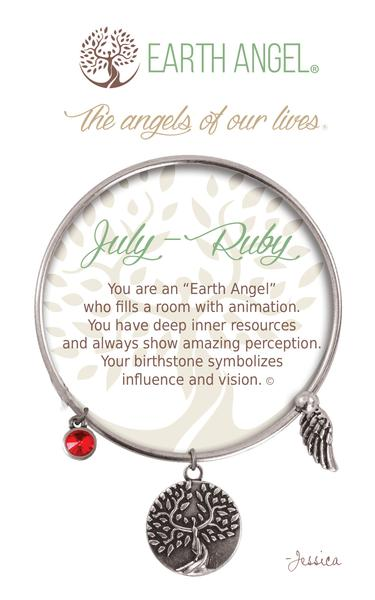 Earth Angel Birthstone Bracelet - July (Ruby)