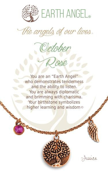 Earth Angel Birthstone Necklace - October (Rose)