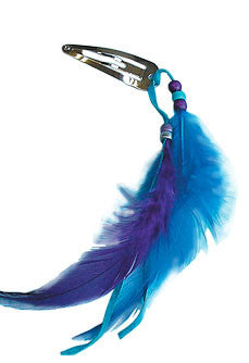 Small Feather Barrette (Turquoise)