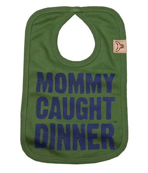 Mommy Caught Dinner Baby Bib (Olive)