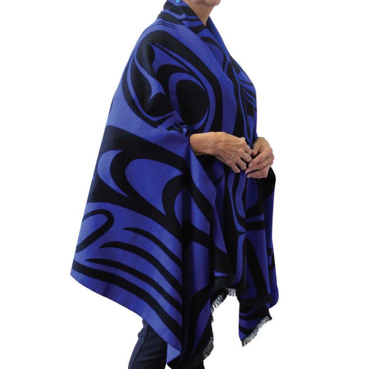 Reversible Fashion Cape - Spirit Wolf (Black/Blue)