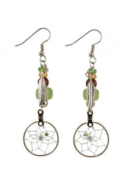 "3/4"" Beaded Earrings w/ Dream Catcher & Metal Feather (Green)"