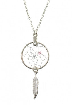 ".75"" Dream Catcher Necklace w/ Metal Feather"