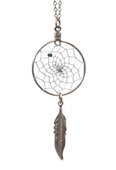 "1"" Dream Catcher Necklace w/ Metal Feather"