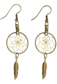 "3/4"" Brass Dream Catcher Earrings w/ Feather"