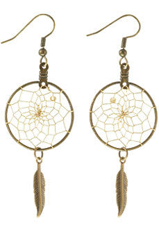 "1"" Bronze Dream Catcher Earrings w/ Feather"
