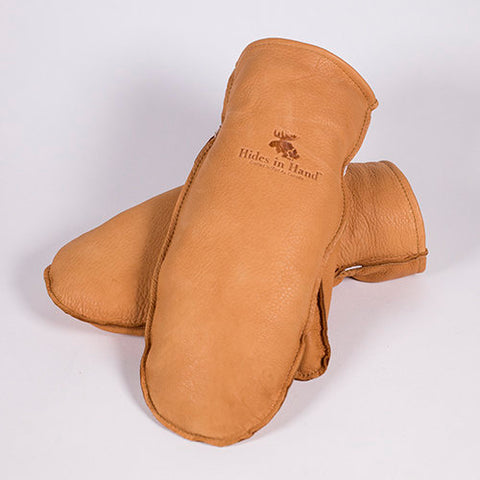 Deerskin Leather Mitt (No Cuff) (Saddle Tan)
