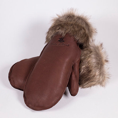 Deerskin Leather Mitt w/ Fur (Brown)