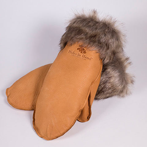 Deerskin Leather Mitt w/ Fur (Saddle Tan)