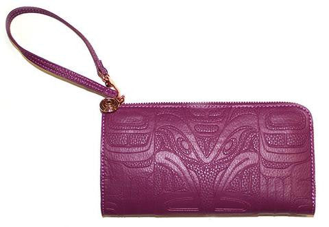 Embossed Fashion Clutch - Raven (Purple Orchid)