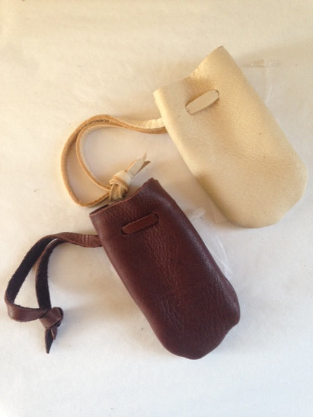 Small Leather Pouch w/ Short Thong (Assorted Colours)