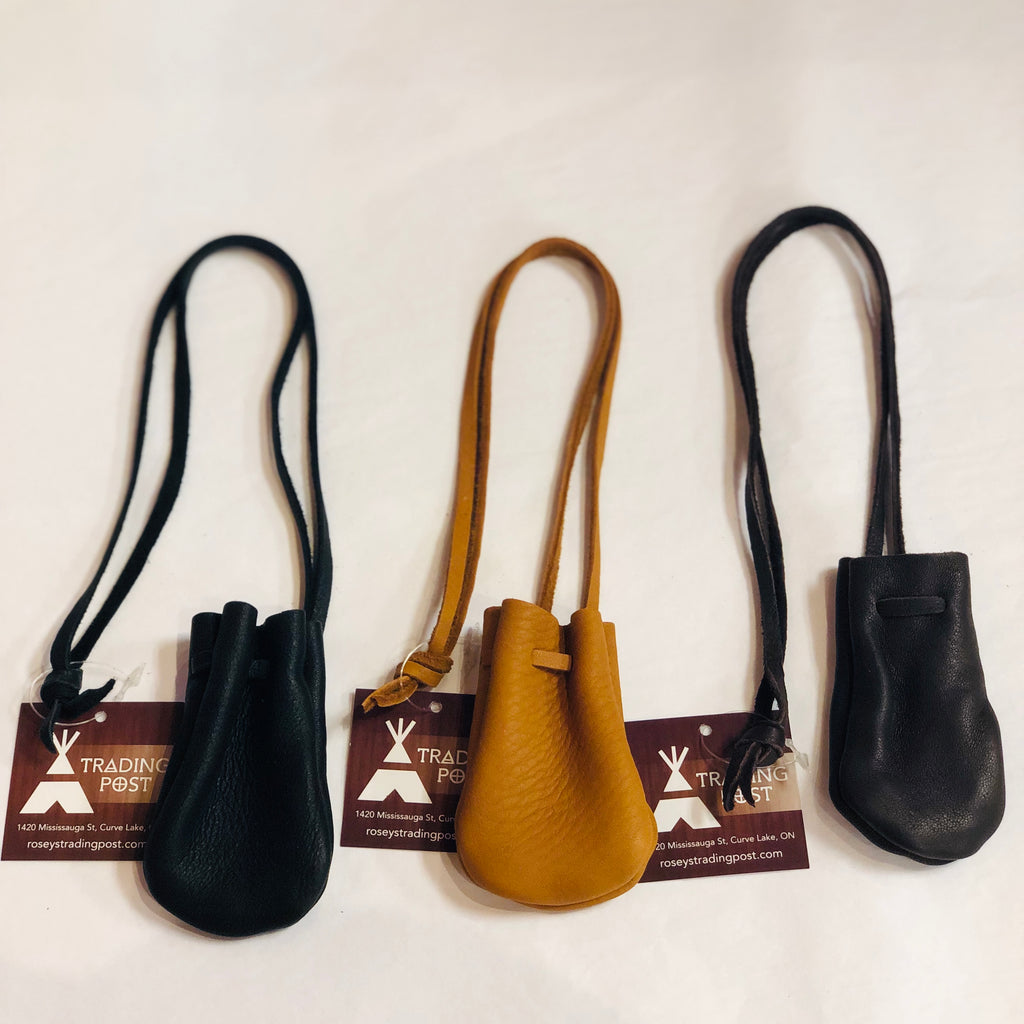 Small Leather Pouch w/ Long Thong (Assorted Colours)