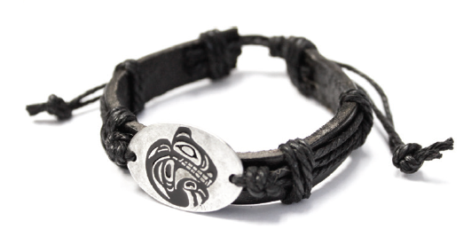 Leather Pewter Bracelet - Grizzly Bear