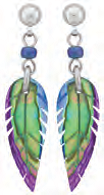 Paua Shell Earrings - Feather