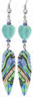 Paua Shell Earrings - Feather w/ Heart