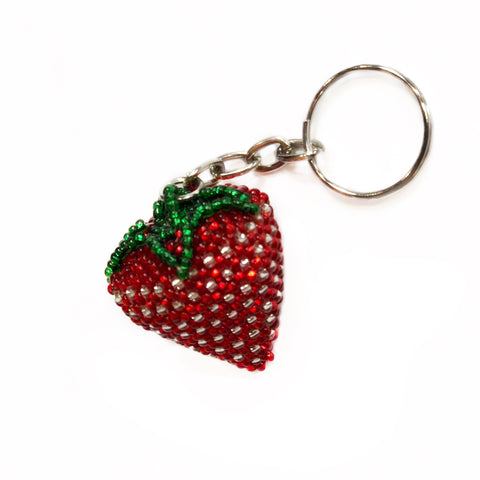 Beaded Strawberry Keychain