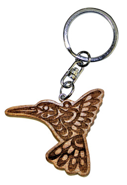 Spirit Wood Keychain - Hummingbird