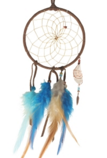 "4"" Brown and Turquoise Dream Catcher with quartz crystal"