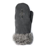 Fur Trimmed Mitt (Charcoal)