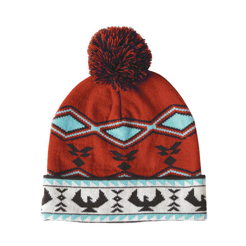 Knitted Tuque with Pom Pom - Salish Weaving Collection - Spirit of the Sky