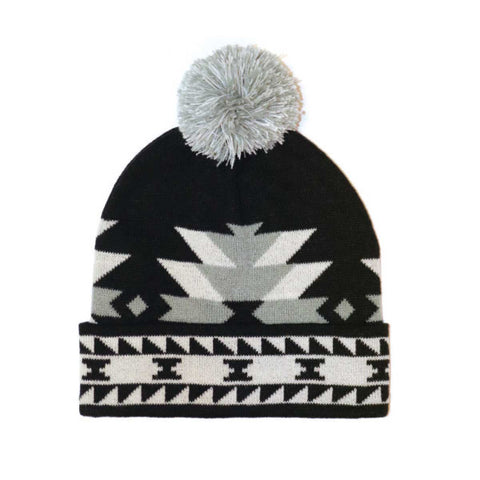 Knitted Tuque with Pom Pom - Salish Weaving Collection - Visions of Our Ancestors