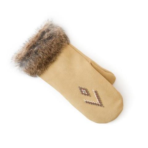 Fur Trimmed Mitt (Tan)