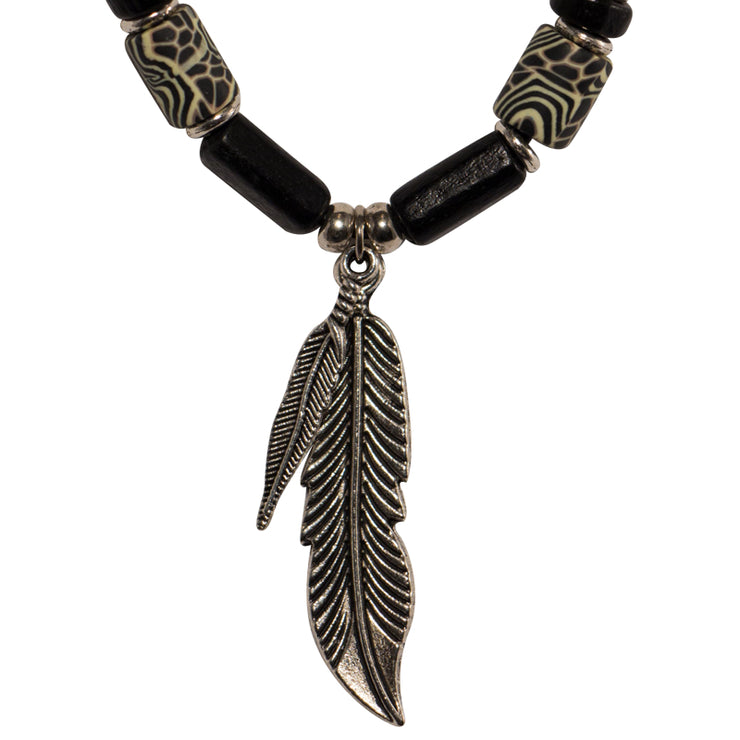 Beaded Necklace - Double Feather
