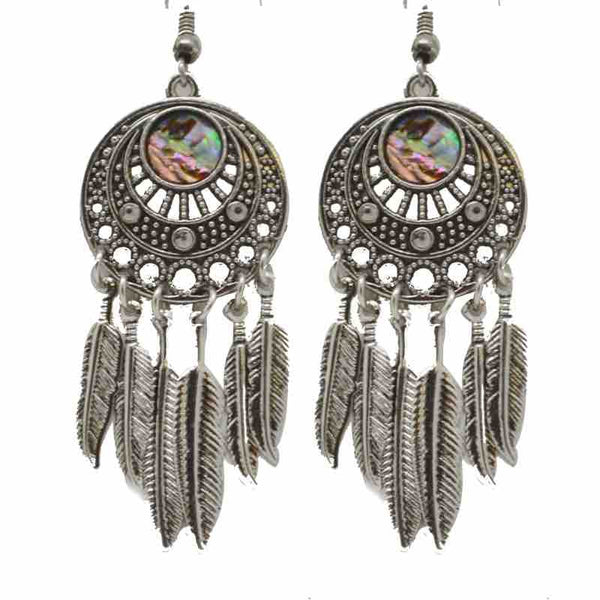 Earrings - Circle Feathers