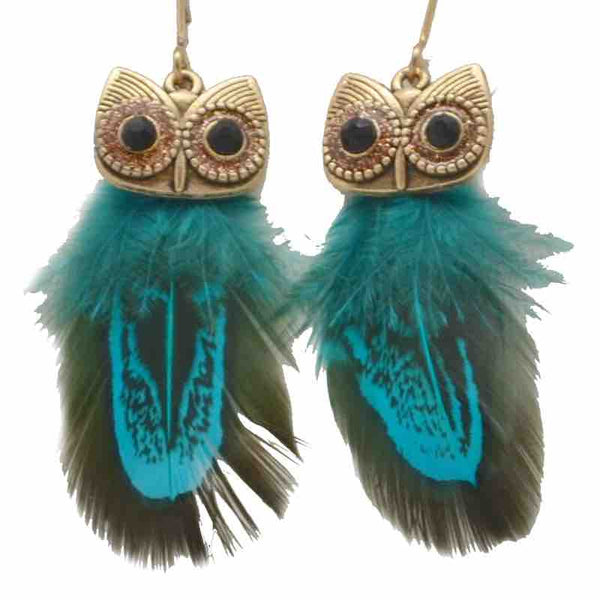 Earrings - Owl (Blue or red)