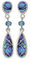 Paua Shell Earrings - Teardrop with Beads