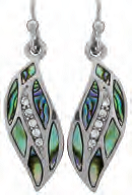 Paua Shell Earrings - Leaf with Cubic Zirconia