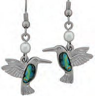 Paua Shell Earrings - Hummingbird