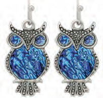 Paua Shell Earrings - Owl