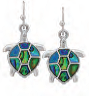 Paua Shell Earrings - Sea Turtle